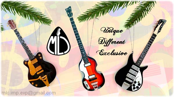 Rock around the Christmas tree with these wooden mini-guitars ornaments!  Here is a wonderful gift to offer during the holidays . - Music Legends Collection Official Web-site. Music Themed Gifts Idea